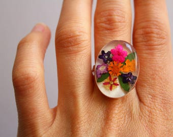 Natural Flowers Ring - White