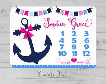 Baby milestone blanket nautical etsy negle Gallery