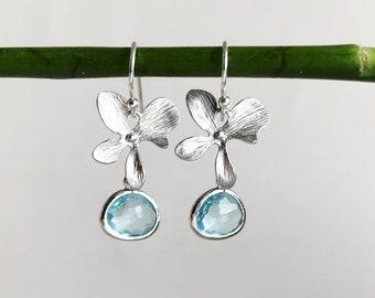 Orchid Flower Earrings in Silver, Sterling Silver Ear Hooks, Aqua Blue Framed Glass Jewel Earrings, Tiny Silver Flower Earrings