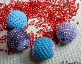 Set of 4 beaded purple and turquoise beads