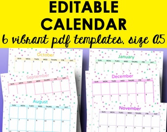 Monthly Calendar Printable Template, Editable Monthly Calendars, Printable Planner Pages, Calendar Template, A5, Instant Download