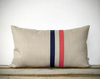 Coral and Navy Striped Pillow - 12x20 - Modern Home Decor by JillianReneDecor | Colorblock Stripes | Cayenne | Spring Home Decor, Peach Echo