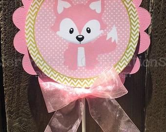 Centerpiece, Pink Gold Fox Centerpiece, Birthday, Baby Shower, Photo Prop, Table Centerpiece, Fox Centerpiece, Pink Fox, Personalized