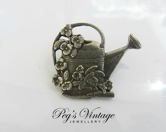 Vintage  Birds & Blooms Brooch, Pewter Watering Can Brooch/Pin