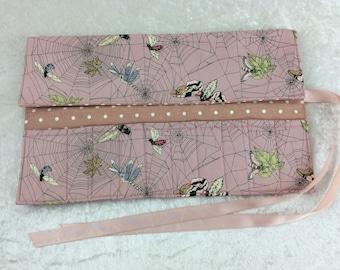 Handmade Makeup Pen Pencil Roll Crochet Knitting needles tool holder case Alexander Henry Ghastlie Web Moths Gothic