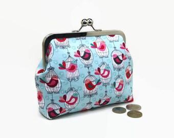 Metal Frame Purse / Metal Frame Clutch / Clutch purse / bag / Kisslock 6 inch  - Makower Cats Birdcages Aqua / Mice White