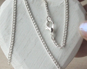 14 inch - 36 inch silver plated chain necklace, 3mm - 2mm,  finished bright silver curb chain custom made SF118