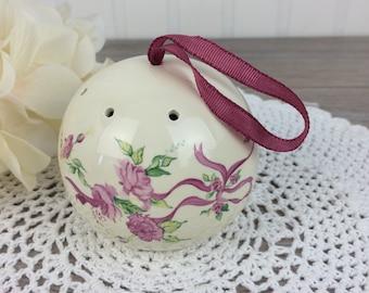 Vintage Ceramic Pomander, Pink Ribbon, Victorian Potpourri Ball, Reusable Lavender Sachet, Natural Home Fragrance, Eco Friendly