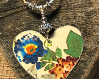 Large Up cycled Tin Heart Necklace