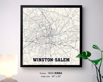 Winston Salem North Carolina Map Print, Winston Salem Poster, Winston Salem Wall Art, Winston-Salem State University, Wake Forest University