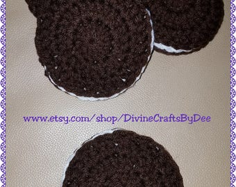 4-Piece Crochet Sandwich Cookie Coaster Set