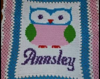 Personalized Owl Blanket