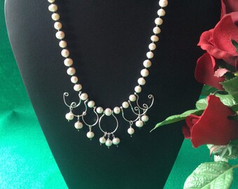 Handmade Cultured Pearl Necklace with .925 Sterling Silver Accents.