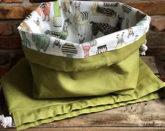 Lovely Llama Sage Green Knit & Crochet Project Bag Canvas Cotton Leather Finger Loop Strap Drawstring Tote Bucket