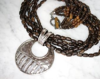 Silpada six strand palm wood bead necklace silpada six strand palm wood bead necklace with sterling silver pendant slide aloadofball Images