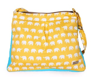 Elephant Messenger Crossbody Bag, Elephant Diaper Bag, Travel Purse, Sling Bag, Elephant Shoulder Purse, Cross Body Sling Bag,Travel Handbag