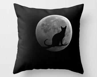 Cat and the MoonThrow Pillow, Black Pillow, Office, Dorm, Decorative Pillow, Cat Cushion,Wedding Gift, Moon Pillow, Surf, Full Moon Pillow