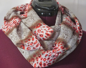 Infinity Scarf - Animal Print Brown/Red