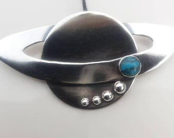 Saturn Necklace silver and Turquoise space jewelry planet jewelry one of a kind
