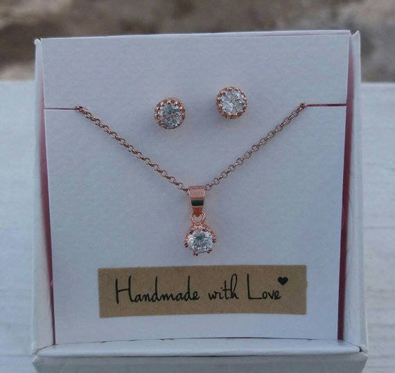 Floating diamond bridal set, Cubic zirconia,single diamond necklace, CZ studd earrings, rose gold filled, 14k gold filled or sterling silver