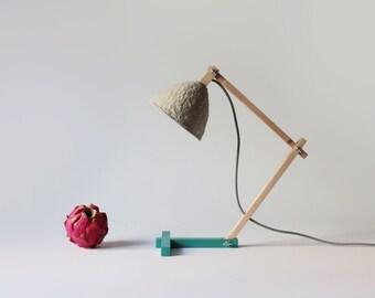 Lámpara de escritorio Metamorfozis Blu, lampara, luces de noche, lámpara de mesa, papel mache, lámpara de papel, lámpara de madera, lamparas