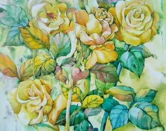 Rose Painting, Floral Still Life, Original Watercolor, Yellow Rose Bouquet, Impressionistic Art, Home Decor Botanical illustration gift idea