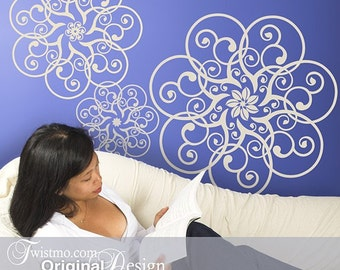 Mandala Lace Doily Vinyl Wall Decal Art, 3 Circular Wall Decal Designs (01711b7v)
