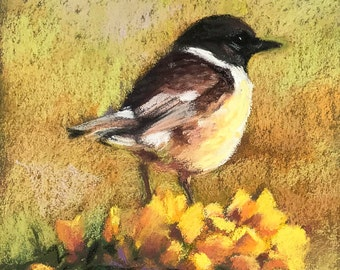 Original Painting of Stone Chat Bird with Flowers