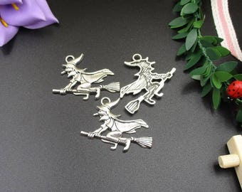 Witch pendants etsy 10pcs 35x38mm silver witch charmsflying witch pendantsflying broom p1046 aloadofball Image collections
