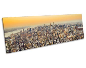 New York City Mahattan Skyline CANVAS WALL ART Panoramic Framed Print