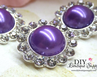 5 pcs 21mm PURPLE Pearl and Rhinestone Buttons Metal Embellishment Headband Supplies Crystal flower centers Bridal supplies 428045