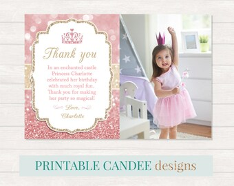 Princess thank you etsy princess thank you princess party thank you pink gold thank you glitter 1st bookmarktalkfo Image collections