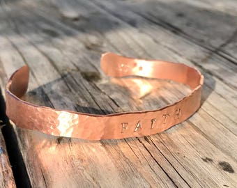 Hand hammered copper bangle (tight hammered texture style)