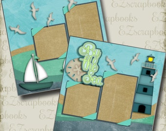 By the Sea - 2 Premade Scrapbook Pages - EZ Layout 2793