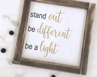 Be a Light framed Wood Sign