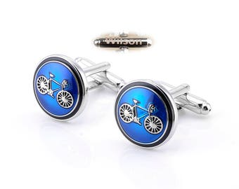 Blue cufflinks, personalized Christmas gifts, blue bicycle cufflinks,cycling cufflinks, wedding cufflinks,bridesmaid cufflinks,and cufflinks