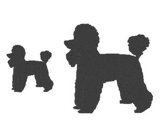 Poodle Embroidery Design File - multiple formats - one color design - 2 sizes - instant download - silhouette embroider - decal embroidery