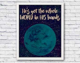 Bible verse, He's got the whole world in his hands, christian wall art, children room decor, bible verse poster, bible art print, printable