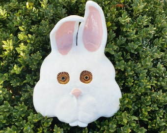 Ceramic Rabbit mask, wall hanger, rabbit, hare, mask, Putoet, PutoetOrgnls