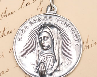 Our Lady of Guadalupe Prayer Medal - Patron of Mexico - Sterling Silver Antique Replica