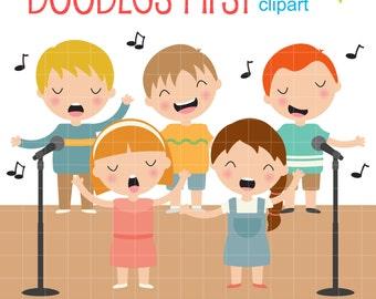 Singing Kids Digital Clip Art for Scrapbooking Card Making Cupcake Toppers Paper Crafts