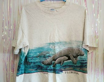 Vintage 80s Florida T Shirt - Oversize Cute Pastel Seals tee