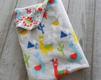 Blanket, minky plush - Alpaca llama