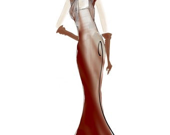 Fashion Illustration Print - Wine Red Evening Gown