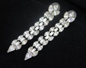 Long Rhinestone Earrings - Vintage Bridal, Wedding, Pierced Dangles Vintage Earrings for Women
