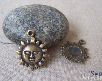 Sun Face Charms Antique Bronze Finish 18mm Set of 30 A4685