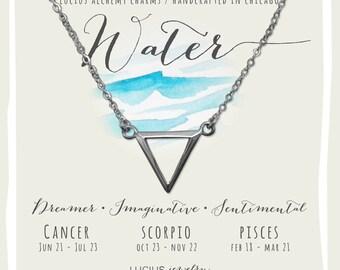 Alchemy Jewelry, Alchemy Necklace, Alchemy Symbols, Cancer Necklace, Scorpio Necklace, Pisces Necklace, WATER ALCHEMY CHARM Necklace.