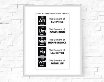 """Printable The Alternative Periodic Table Print - Black and White Print - Geek Nerd Science Poster - Type Print - Wall Art - 8""""x10"""" and A4."""