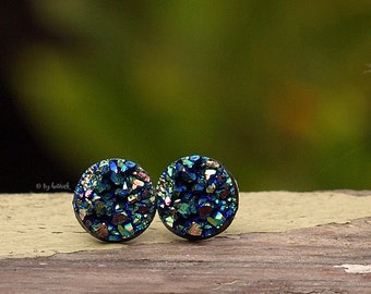 Faux Druzy Stud Earrings, Multi Color Glitter Druzie Posts, Rainbow 10 mm Faux Druzy Posts