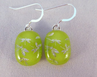 Spring Green Dragonfly Dichroic Fused Glass Dangle Earrings, Fused Glass, Fused Glass Earrings, Dangle, Dichroic, Green, Dragonflies